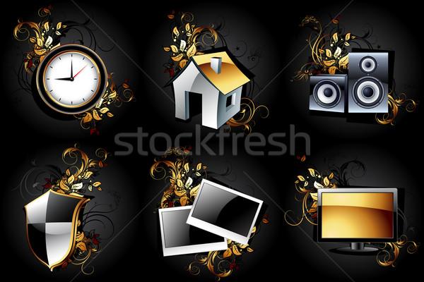 Webes ikonok magas részletes szett illusztráció hasznos Stock fotó © kjolak