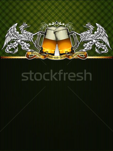 пива фон Label ретро-стиле зеленый бизнеса Сток-фото © kjolak
