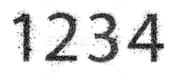Cztery cyfry oryginał czarny list typu Zdjęcia stock © kjolak