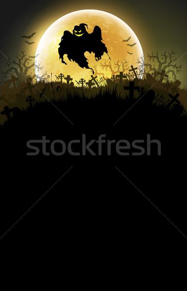 Halloween hold szellem háttér keret éjszaka Stock fotó © kjolak