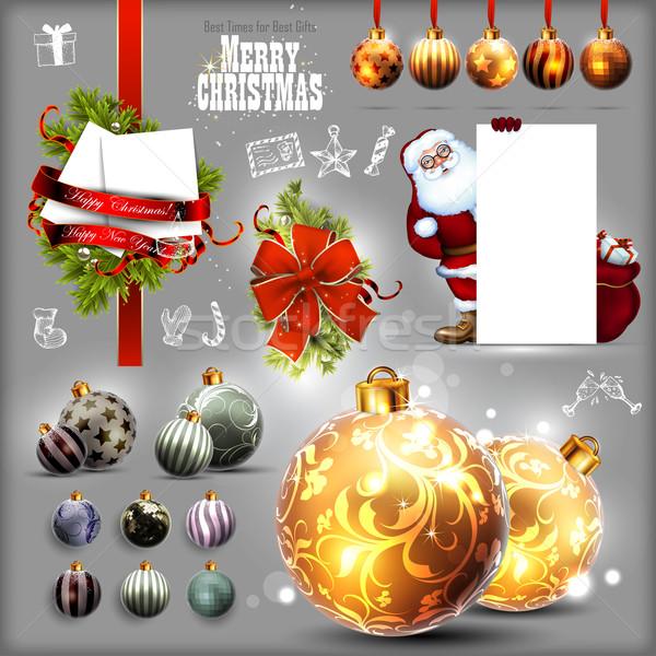 Stock fotó: Karácsony · szett · illusztráció · hasznos · designer · munka