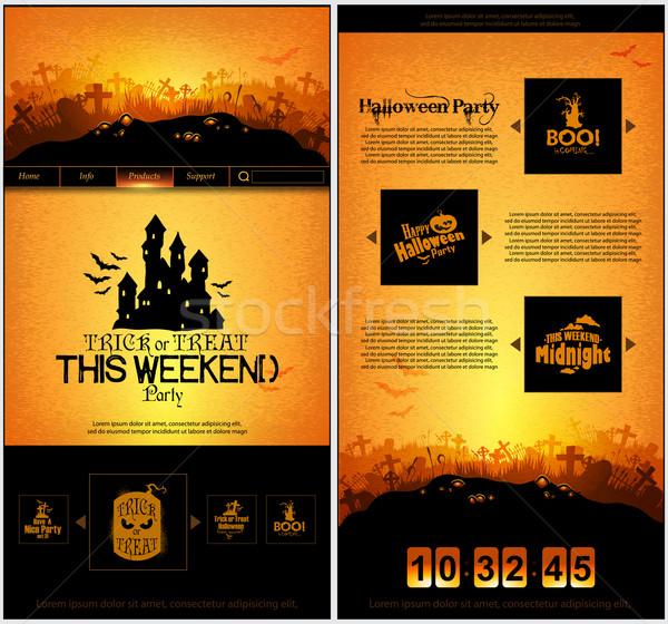 Halloween one page design template Stock photo © kjolak