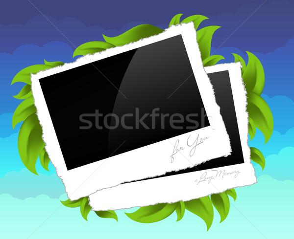 Foto frames decoratief twee foto's Blauw Stockfoto © kjolak