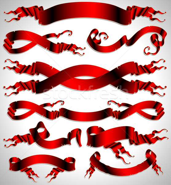 set of red ribbons Stock photo © kjolak
