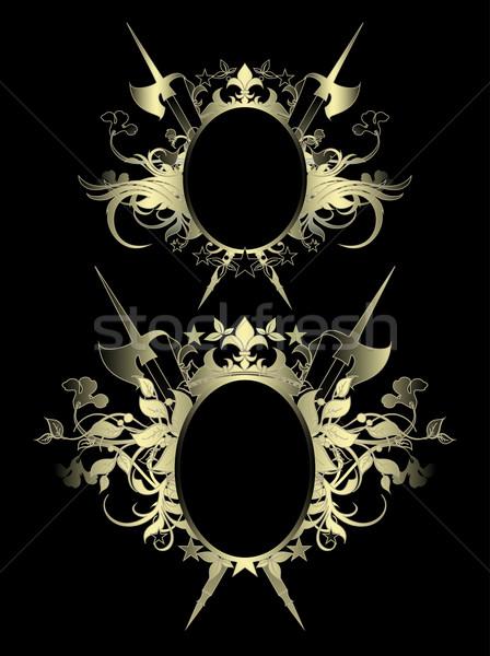 Kettő díszítő fekete ovális pajzs díszített Stock fotó © kjolak