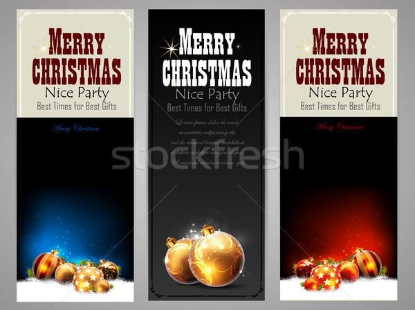 Christmas wenskaart ruimte boom gelukkig Stockfoto © kjolak