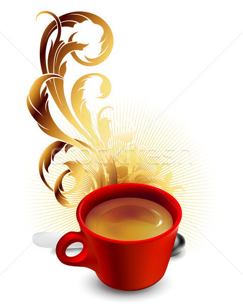 cup of coffee with ornamental elements Stock photo © kjolak