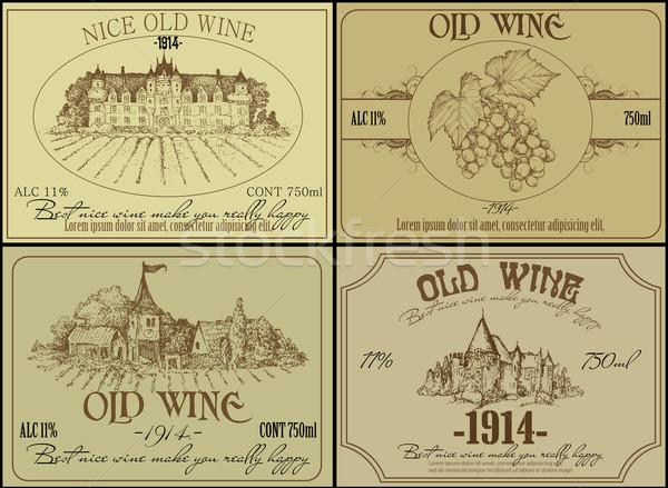 Set vino etichette illustrazione utile designer Foto d'archivio © kjolak
