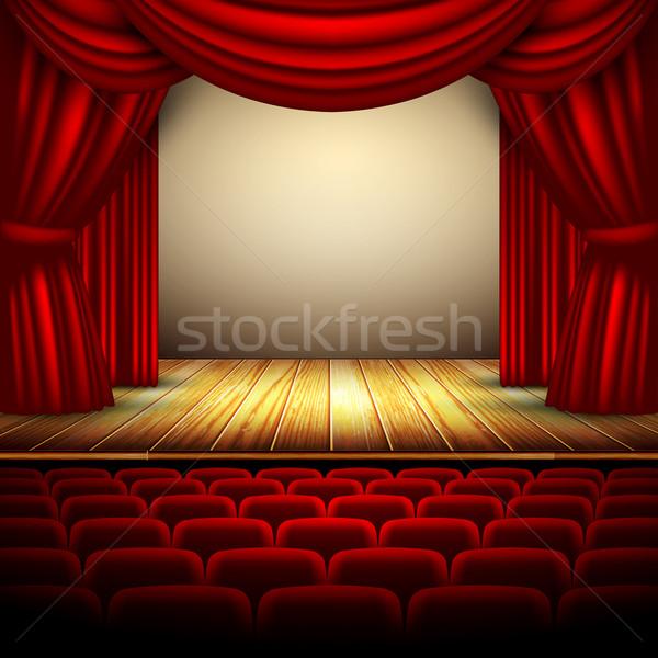 Színház színpad piros függöny fapadló művészet Stock fotó © kjolak