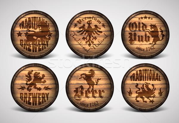 セット 6 木製 ビール 光 バー ストックフォト © kjolak