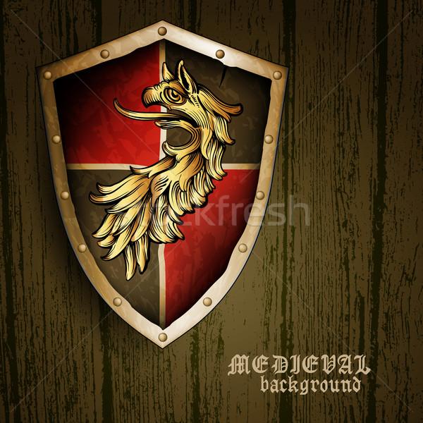 средневековых щит грифон дизайна ретро Сток-фото © kjolak
