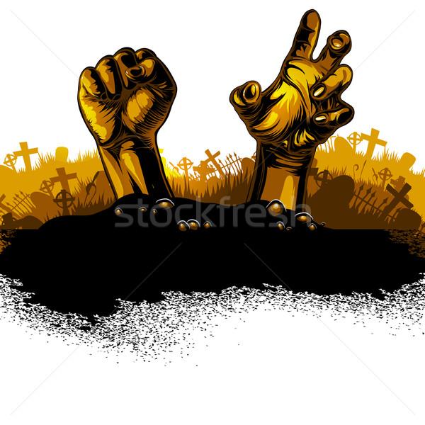 Halloween terv kezek buli háttér fekete Stock fotó © kjolak