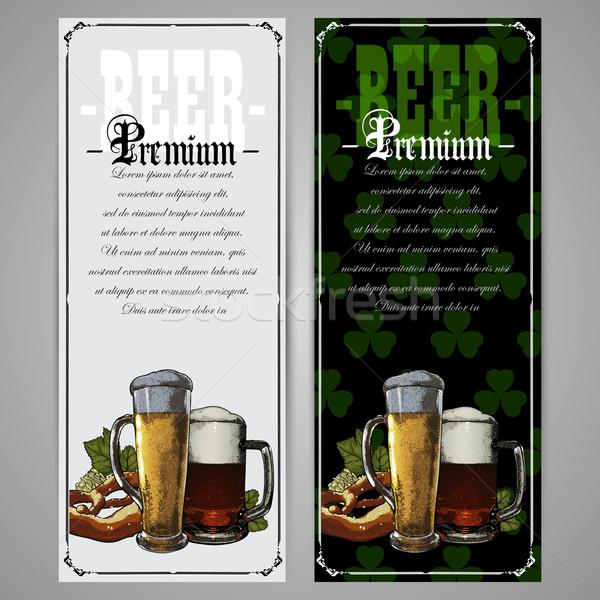 Szett sör címkék menü Szent Patrik napja üveg Stock fotó © kjolak