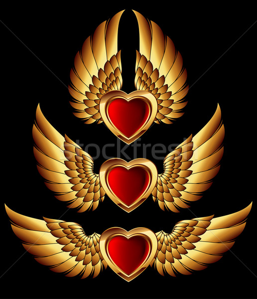 heart forms with golden wings Stock photo © kjolak