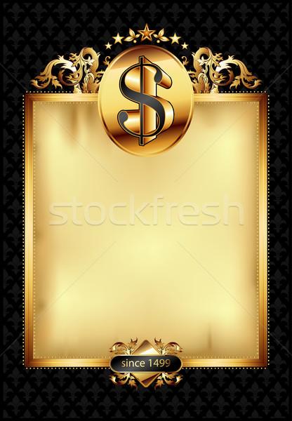 Díszes keret dollár szimbólum arany díszített Stock fotó © kjolak