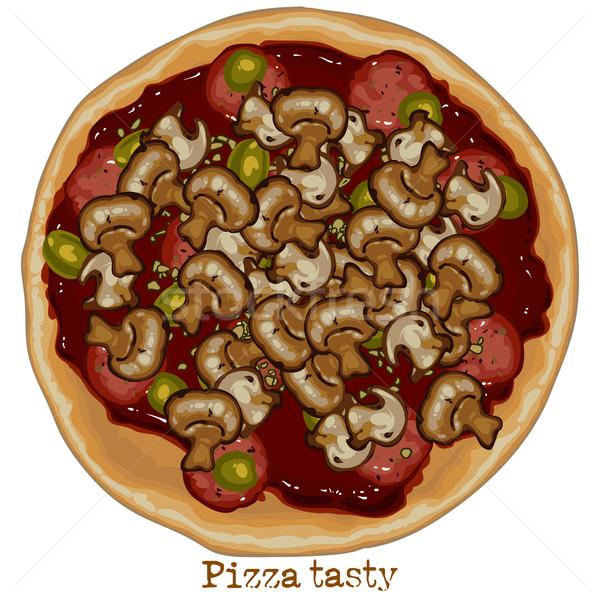 Pizza tekening champignons worst vis kaas Stockfoto © kjolak