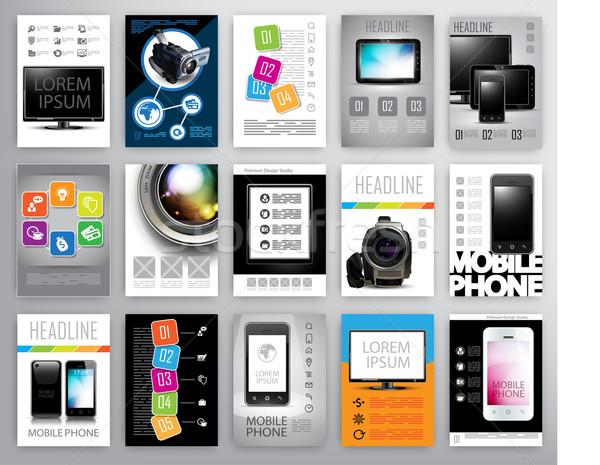 set of flayers design template Stock photo © kjolak
