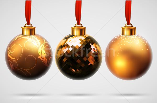 Stock fotó: Karácsony · golyók · terv · illusztráció · hasznos · designer