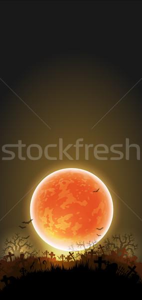 Halloween éjszaka fekete temető hold keret Stock fotó © kjolak