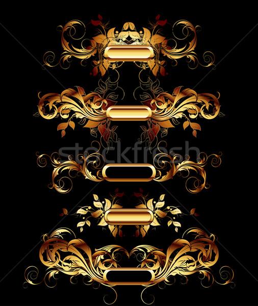 Establecer dorado diseno elementos ilustración útil Foto stock © kjolak