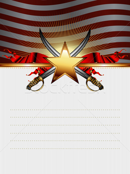 ornate frame with star and sabers Stock photo © kjolak