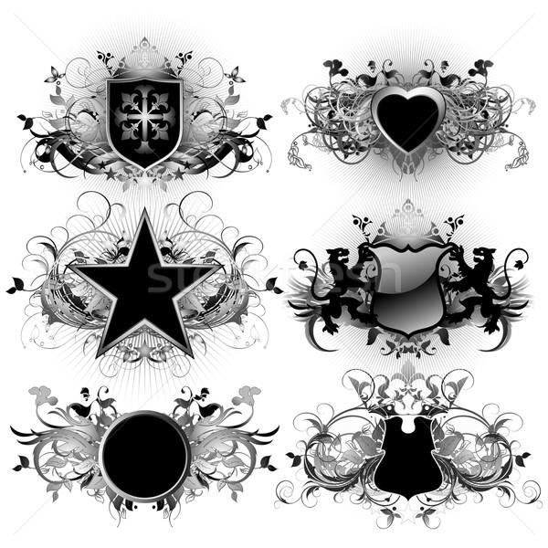 Pajzs illusztráció hasznos designer munka felirat Stock fotó © kjolak
