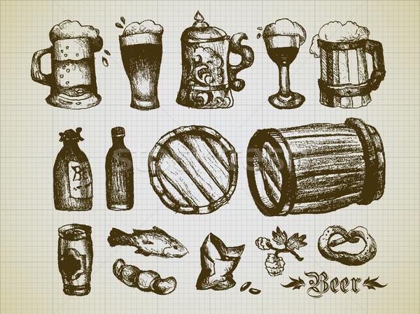 Foto stock: Conjunto · cerveja · elementos · ilustração · útil · estilista