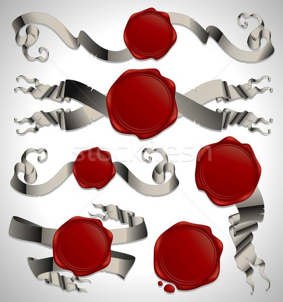 set of ribbon with heraldic seales Stock photo © kjolak