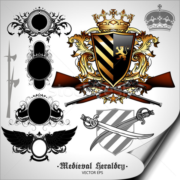 set of heraldic elements Stock photo © kjolak