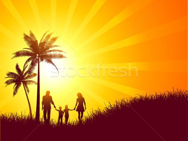 家族 休日 夏 風景 シルエット 徒歩 ストックフォト © kjpargeter