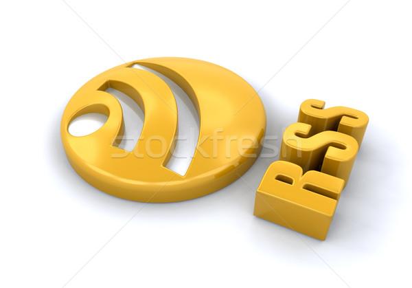 Rss symbol 3d komunikacji logo stronie Zdjęcia stock © kjpargeter