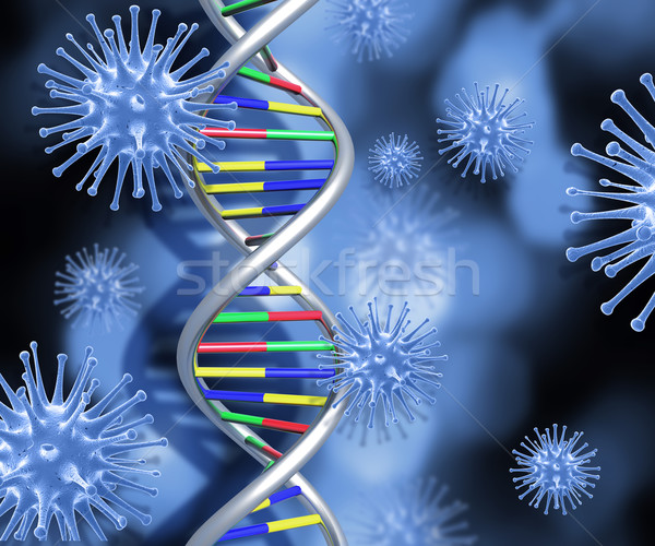 DNA strand and 3D medical virus cells Stock photo © kjpargeter