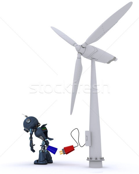 Android windturbine 3d render man macht elektriciteit Stockfoto © kjpargeter