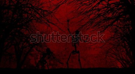 Grunge Halloween background with spooky trees Stock photo © kjpargeter
