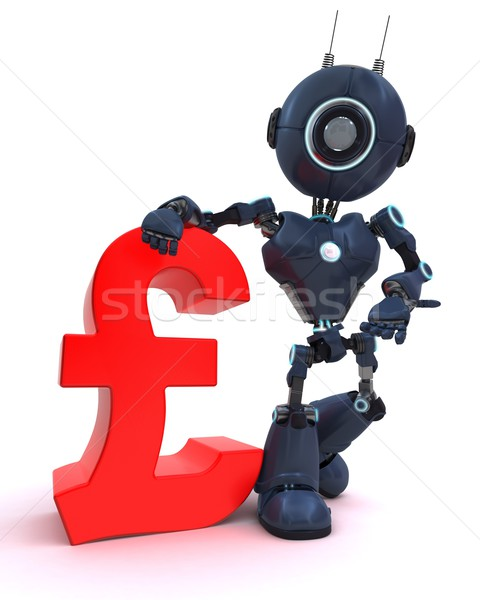 Android pound imzalamak 3d render teknoloji finanse Stok fotoğraf © kjpargeter