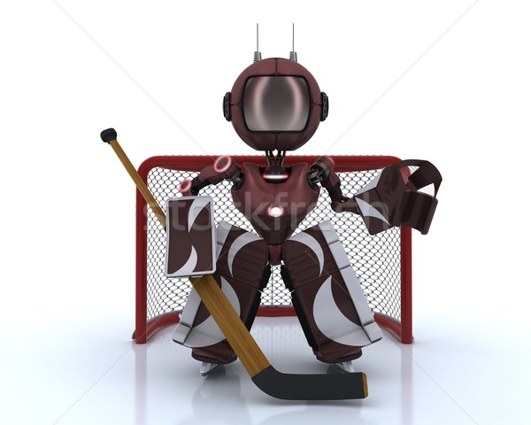 Android playing ice hockey Stock photo © kjpargeter