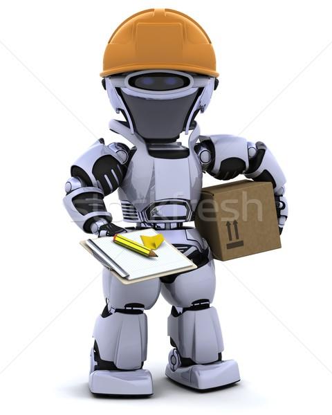 Robot munkavédelmi sisak vágólap 3d render iroda jövő Stock fotó © kjpargeter