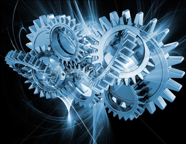 Abstract versnellingen fractal ontwerp digitale beweging Stockfoto © kjpargeter