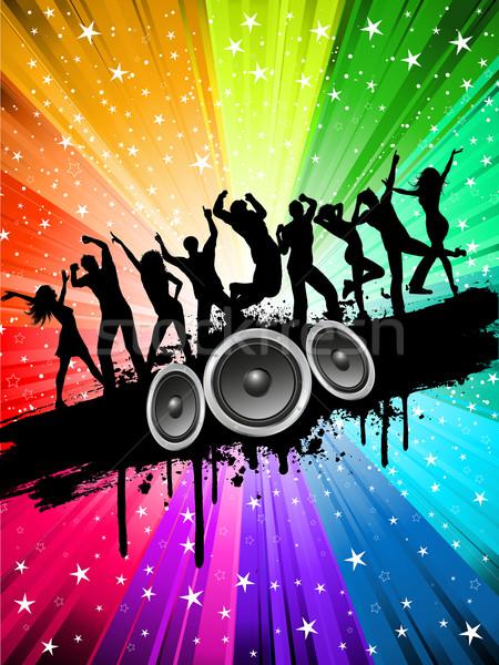 Grunge buli sziluettek emberek tánc csillagos Stock fotó © kjpargeter
