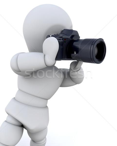 Сток-фото: 3d · человек · камеры · цифровая · камера · изолированный · человека · фон