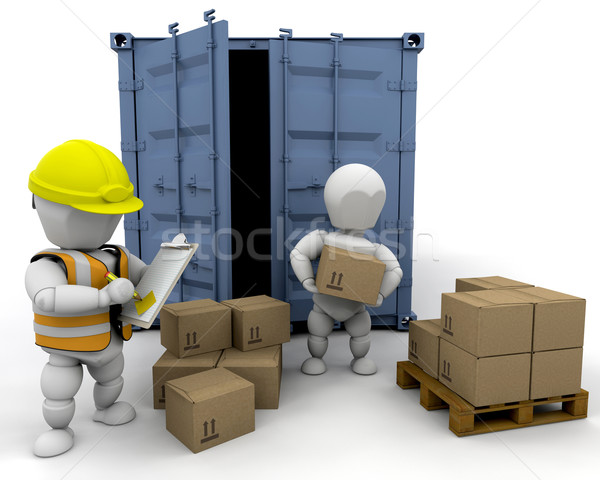 3D men handling materials Stock photo © kjpargeter