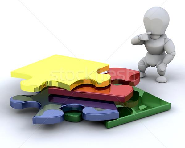 Problémamegoldás valaki befejezetlen puzzle férfi háttér Stock fotó © kjpargeter