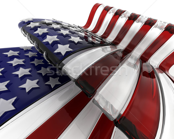 Sticlă American Flag 3d face stele celebrare SUA Imagine de stoc © kjpargeter