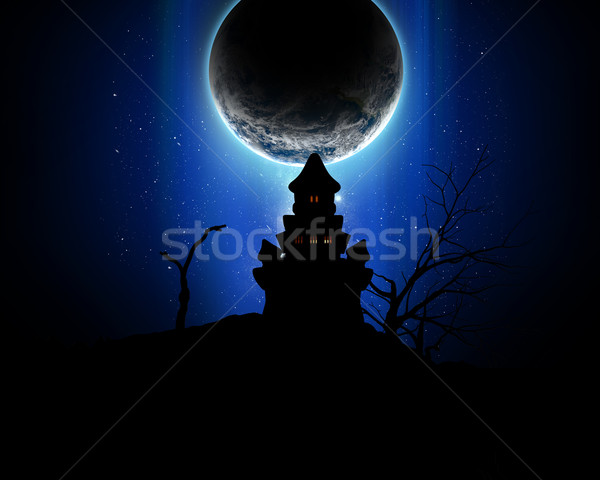 3D Halloween background with spooky castle silhouette Stock photo © kjpargeter