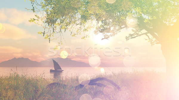 3D landscape with boat on river with vintage effect Stock photo © kjpargeter