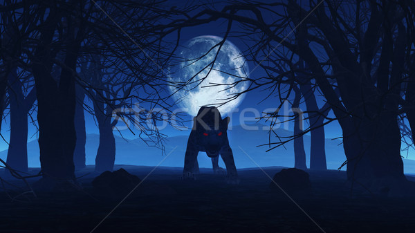 3D black panther in spooky woods Stock photo © kjpargeter