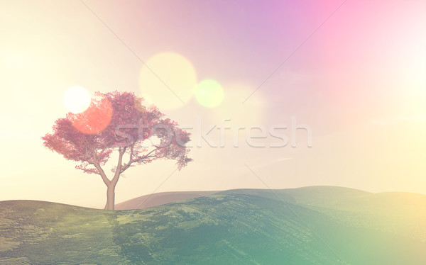 3D tree landscape with retro effect Stock photo © kjpargeter