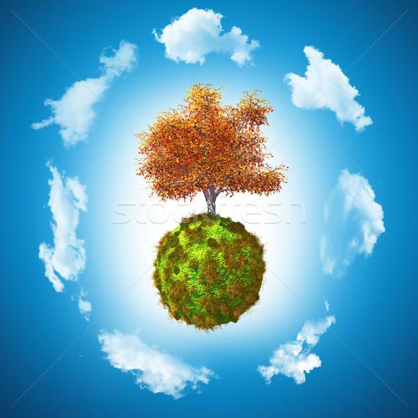 3D noix arbre herbeux monde rendu 3d Photo stock © kjpargeter