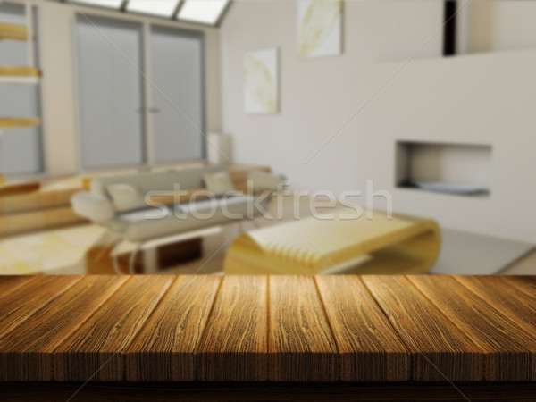 Wooden table with defocussed lounge image Stock photo © kjpargeter