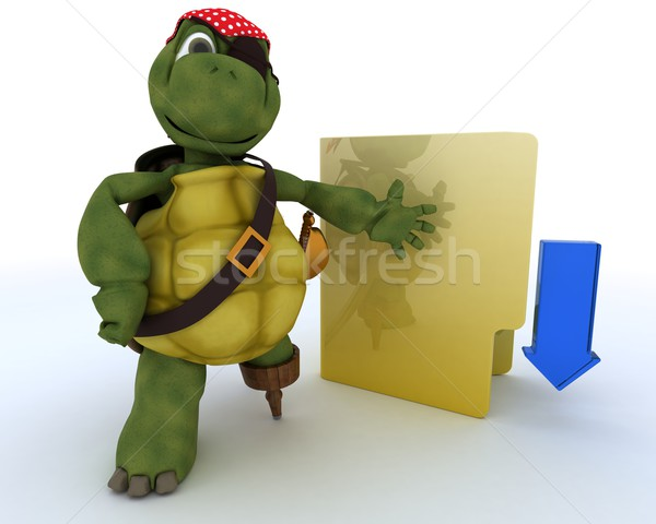 Pirata tartaruga ilegal 3d render oceano concha Foto stock © kjpargeter